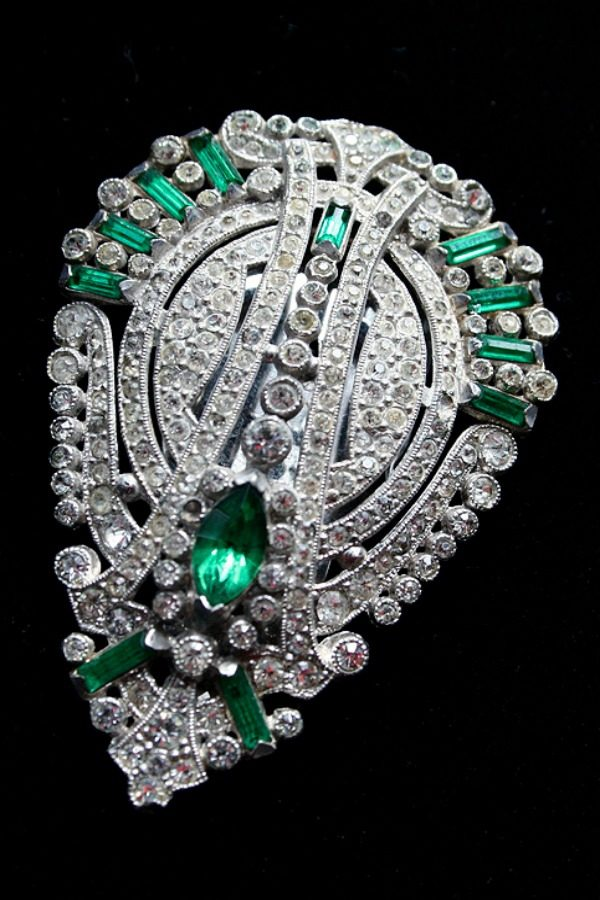 Art deco large rhinestone brooch