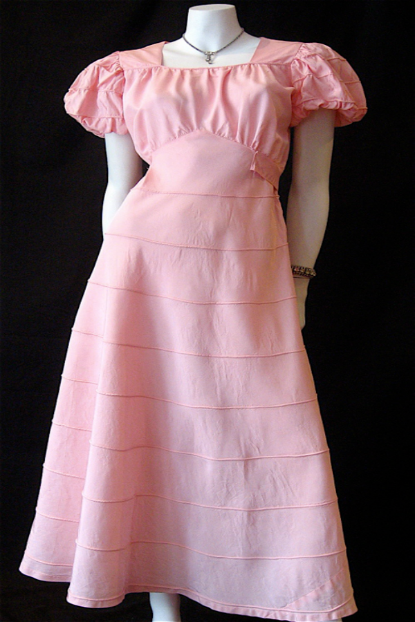 pink 30s long dress full