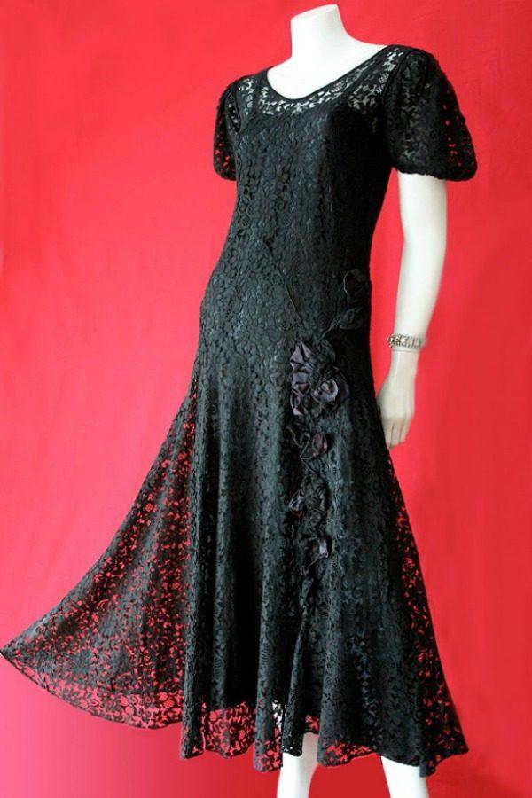 Vintage black 1930s lace dress