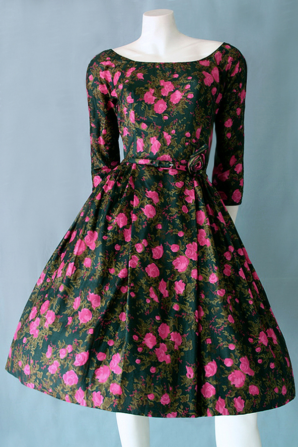 50s floral silk full length