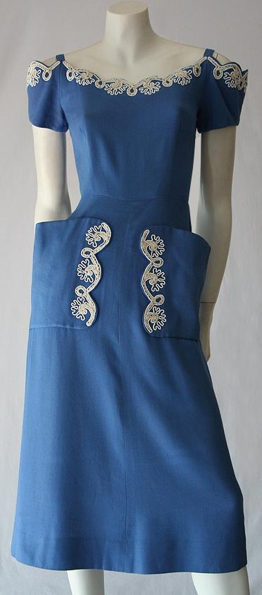 Vintage 40s to 50s cornflower blue linen embroidered dress