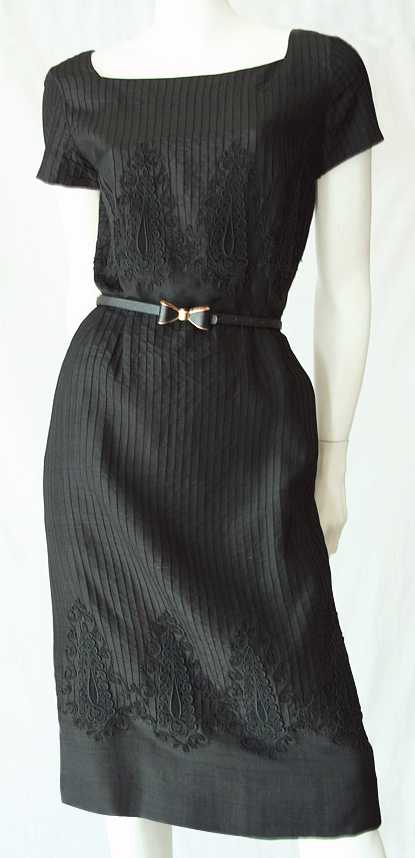 vintage 1950s black embroidered and pin-tucked silk dress