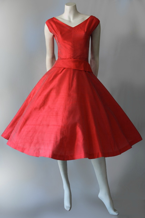 Genuine 1950s pure silk evening dress by Pam Rogers.