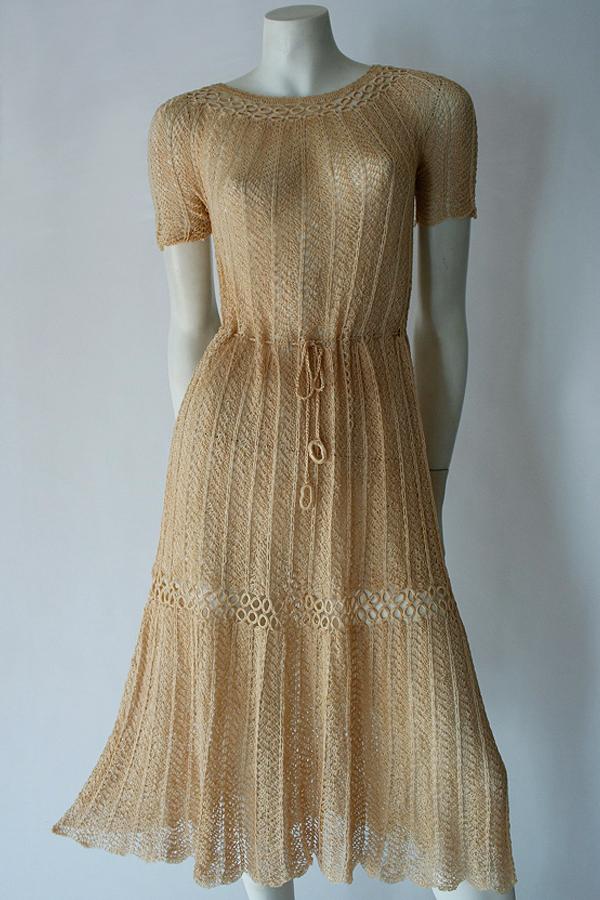 30s crocheted silk dress full length 600×900