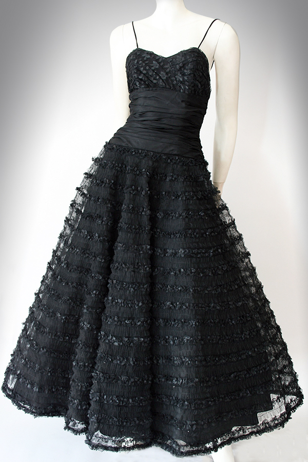 50s long black tulle dress 600×900