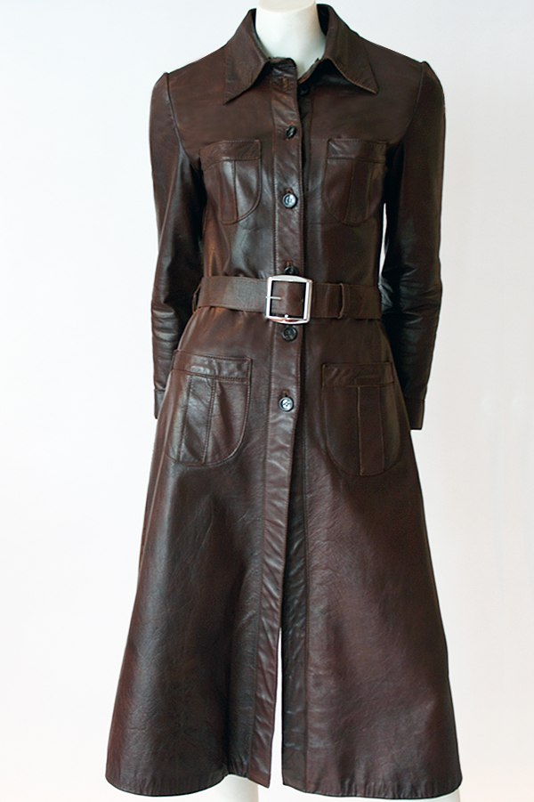 70s House of Merival knee length leather coat 600×900