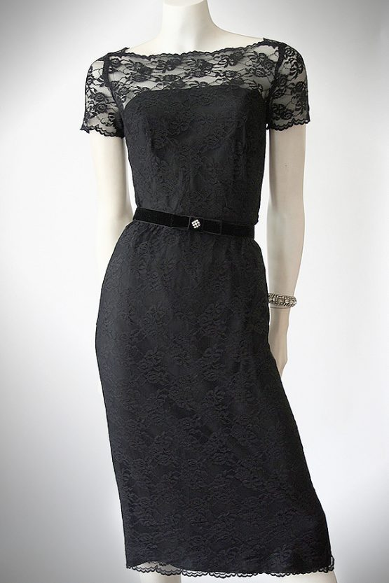 Vintage 50s black lace wiggle dress