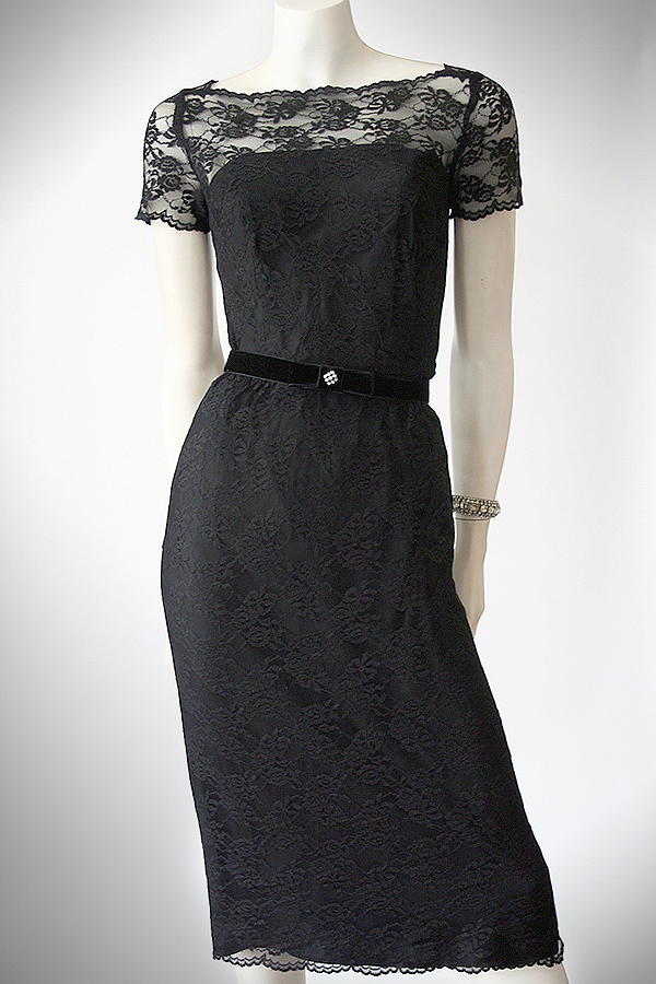 50s black lace wiggle dress full 600 x 900