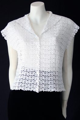 Vintage 50s white cotton lace blouse