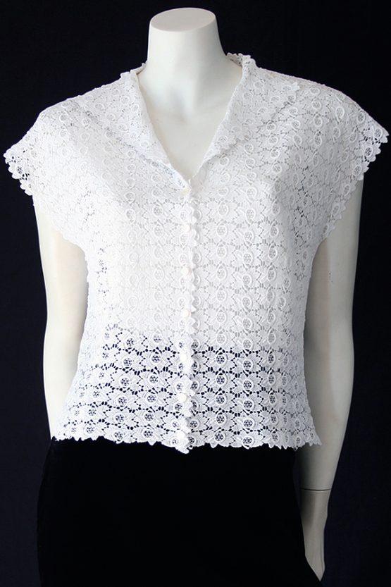 Vintage 50s white cotton lace blouse