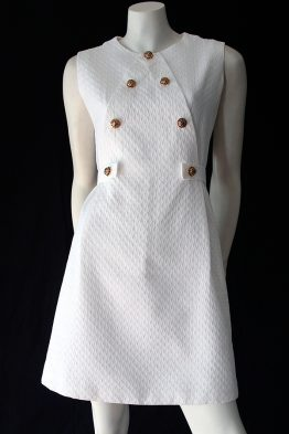 Vintage 60s white pique mini dress