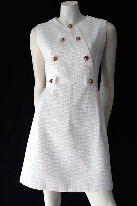 Vintage 60s white pique mini dress