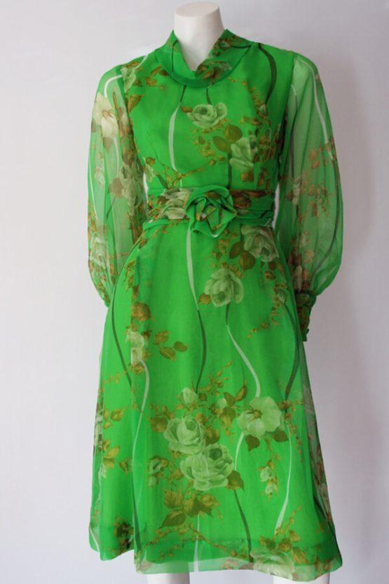 1970s EN-Ka floral chiffon dress